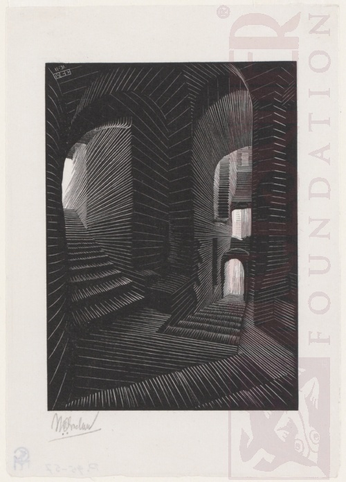 Covered Alley in Atrani. November 1931, Wood Engraving.