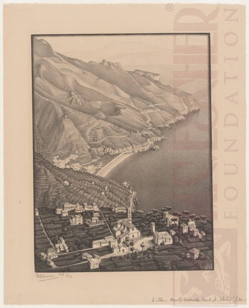 Ravello and Coast of Amalfi. November 1931, Lithograph.