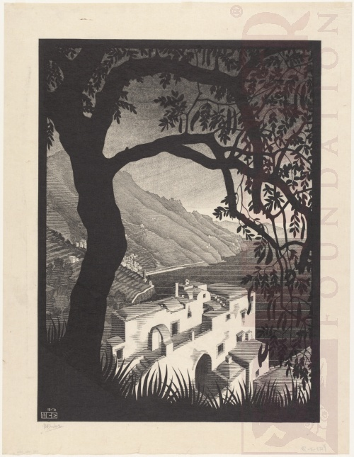 Coast of Amalfi. December 1931, Woodcut, printed from six blocks.