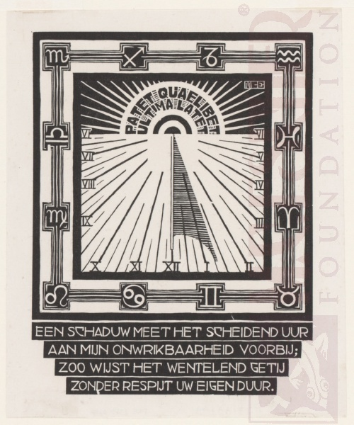 Sundial (See no169). March - June 1931, Woodcut.