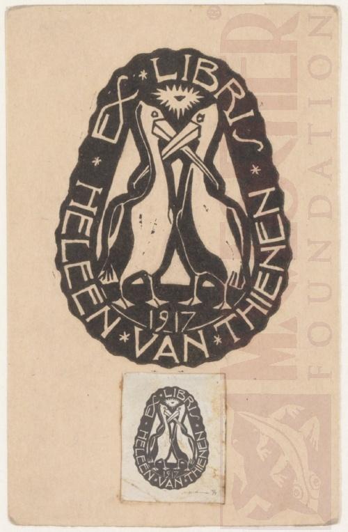 Bookplate Heleen van Thienen. 1917, Linoleum cut.