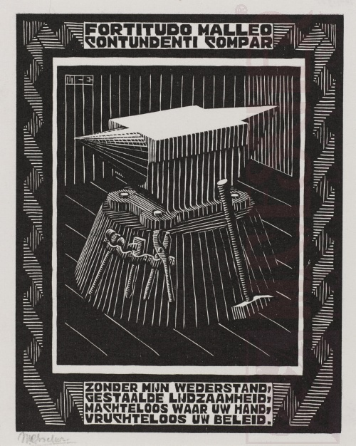 Emblemata, Anvil. March - June 1931, Woodcut.