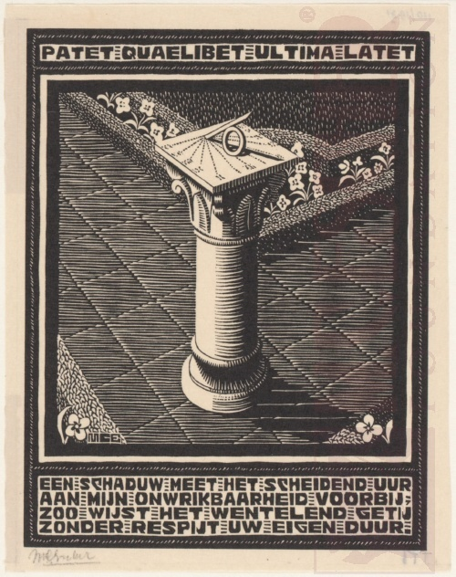 Emblemata, Sundial. March - June 1931, Woodcut.