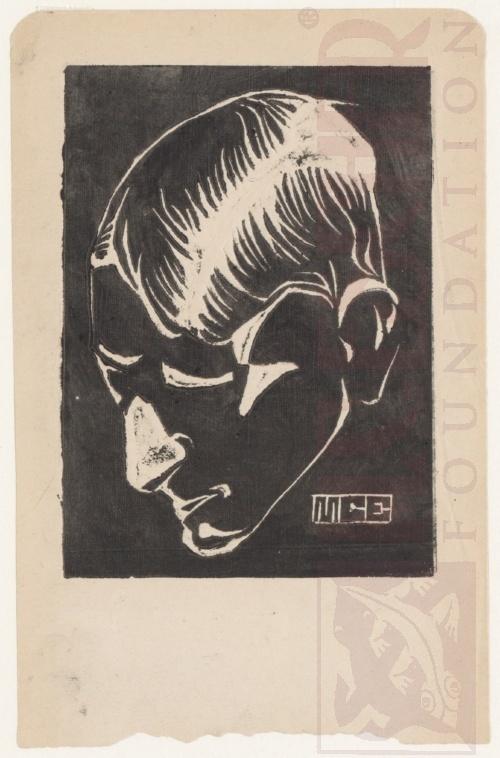 Self-Portrait. 1917, Linoleum cut.