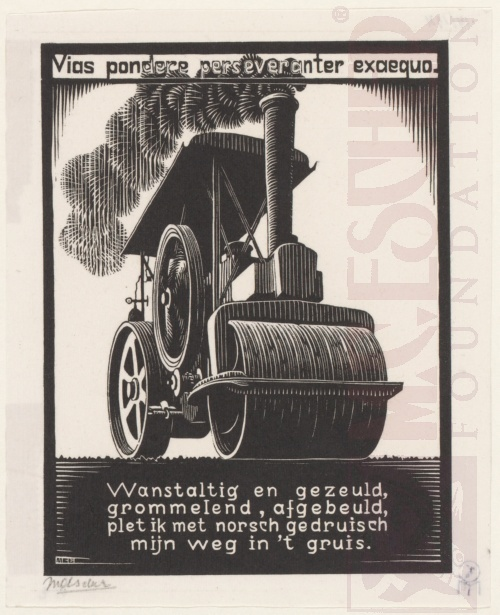 Emblemata, Steamroller. March - June 1931, Woodcut.