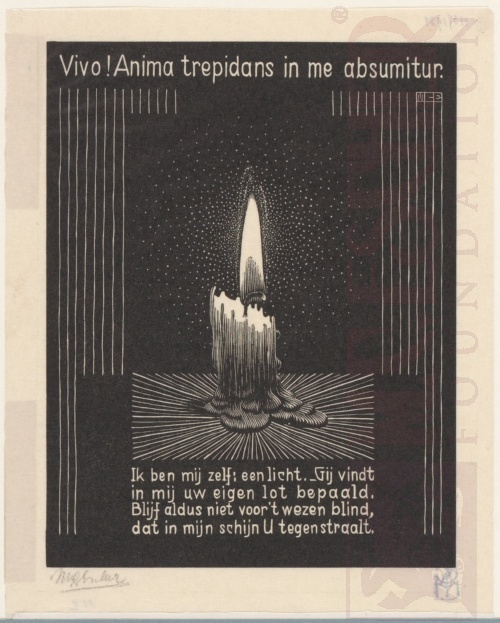 Emblemata, Candle Flame. March - June 1931, Woodcut.