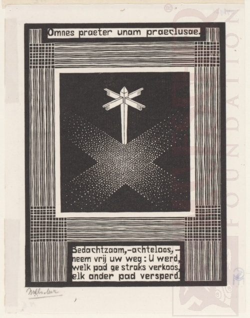 Emblemata, Signpost. March - June 1931, Woodcut.