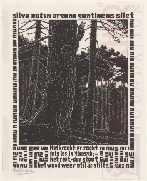 Emblemata, Squirrel. March - June 1931, Woodcut.