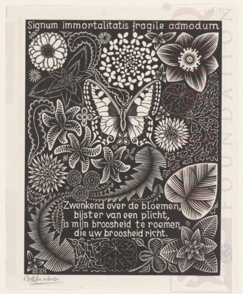 Emblemata, Butterfly. March - June 1931, Woodcut.