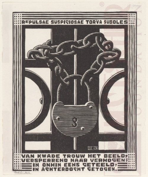Emblemata, Padlock. March - June 1931, Woodcut.