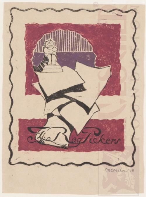 The Rag Pickers. January 1918, Linoleum cut.