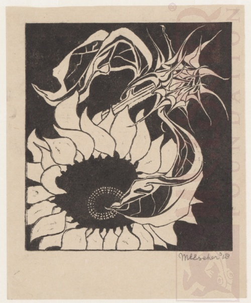 Sunflowers. August 1918, Linoleum cut.