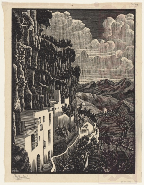San Cosimo, Ravello. January 1932, Wood Engraving.