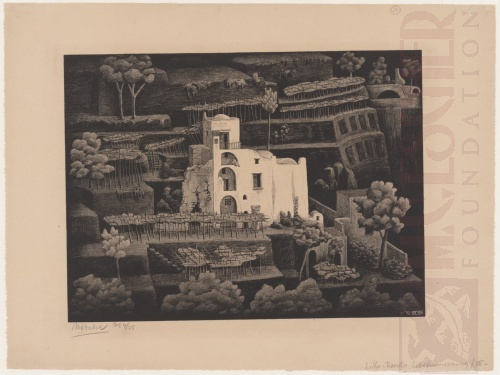 Farmhouse, Ravello. January 1932, Lithograph.