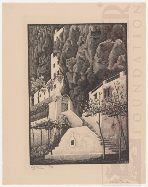 San Cosimo, Ravello. February 1932, Lithograph.