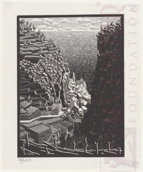 Atrani, coast of Amalfi. February 1932, Woodcut.