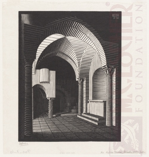 Porta Maria dell'Ospidale, Ravello. February 1932, Wood Engraving.