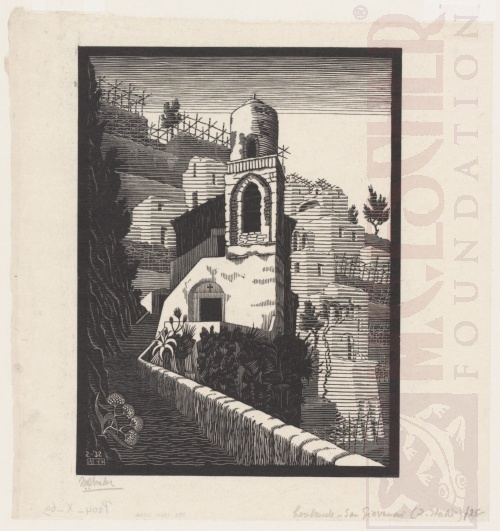 San Giovanni, Ravello. February 1932, Wood Engraving.
