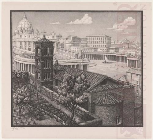 San Michele dei Frisoni, Rome. June 1932, Lithograph.