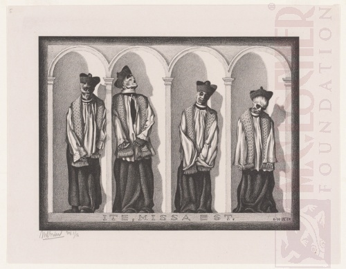 Mummified Priests in Gangi, Sicily. June 1932, Lithograph.