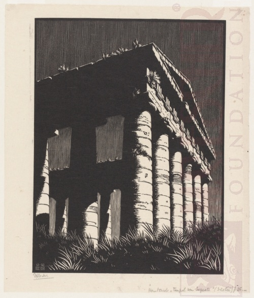 Temple of Segesta, Sicily. December 1932, Wood Engraving.