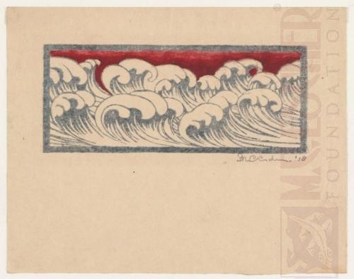 Waves. 1918 Linoleum cut, watercolor.