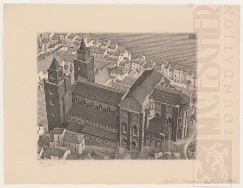 Cathedral of Cefalú, Sicily. December 1932, Lithograph.