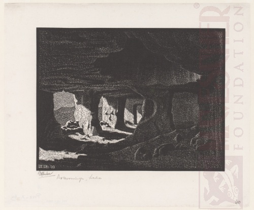 Cave Dwellings near Sperlinga, Sicily. January 1933, Woodcut.