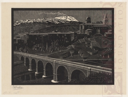 Randazzo and Mount Etna, Sicily. January 1933, Wood Engraving.