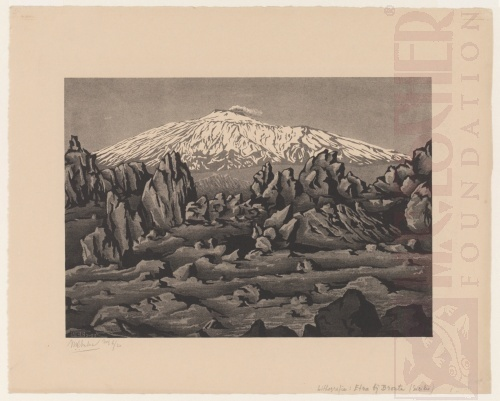 Old lava from Mount Etna near Bronte, Sicily. February 1933, Lithograph.