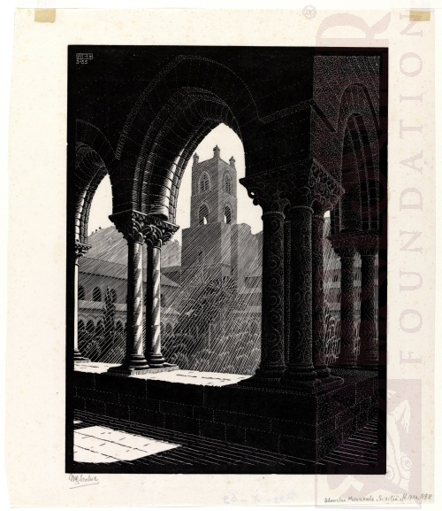 Cloister of Monreale, Sicily. March 1933, Wood Engraving.