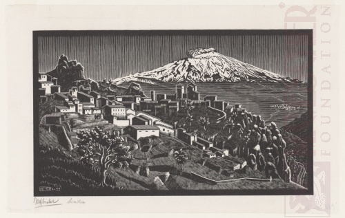 Cesarò and Mount Etna, Sicily. April 1933, Wood Engraving.