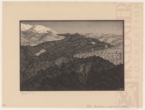 Lava Flow of 1928 from Mount Etna, Sicily. April 133, Lithograph.