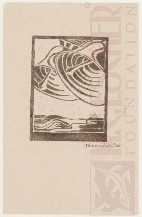 Two Bells. 1918, Linoleum cut.