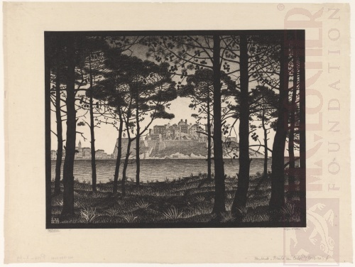 Pineta of Calvi, Corsica. June 1933, Woodcut, printed from three blocks.
