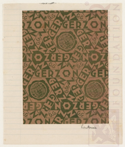 Design for wrapping-paper: Gerzon. Woodcut.