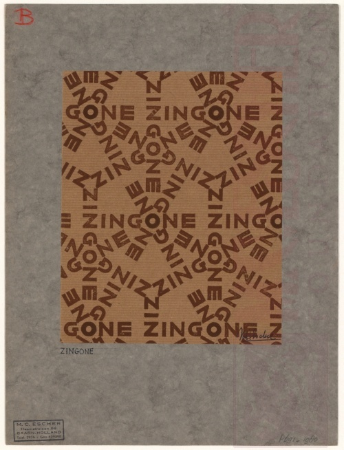 Design for wrapping-paper: Zingone. Woodcut.