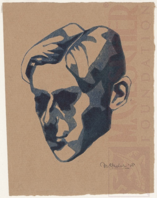 Self-Portrait. 1918 Linoleum cut, printed from two blocks.