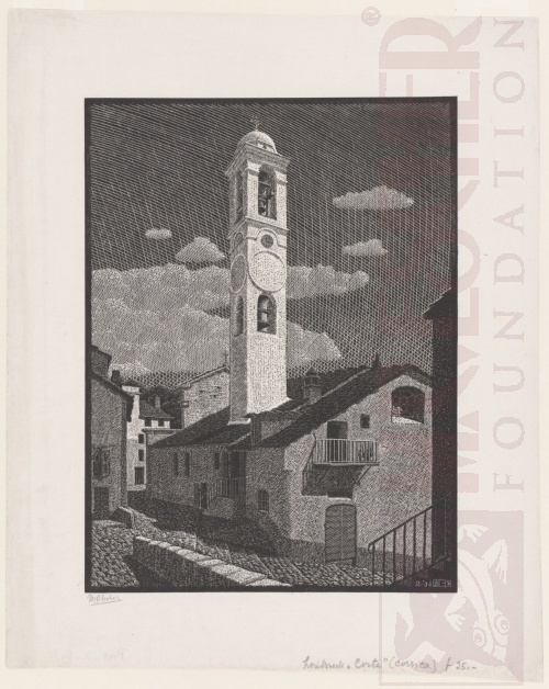 Church at Corte, Corsica. December 1933, Wood Engraving.