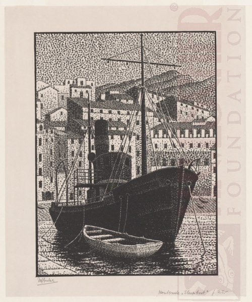 Tugboat, Old Harbour of Bastia. January 1934, Wood Engraving.