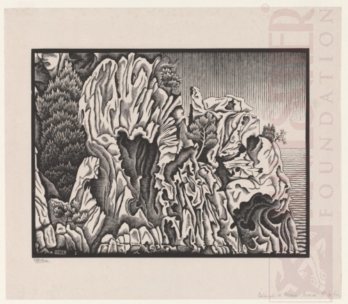 Calanche of Piana, Corsica. February 1934, Wood Engraving.