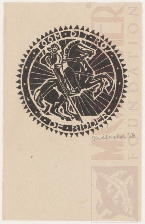Bookplate T. de Ridder. 1918, Linoleum cut.
