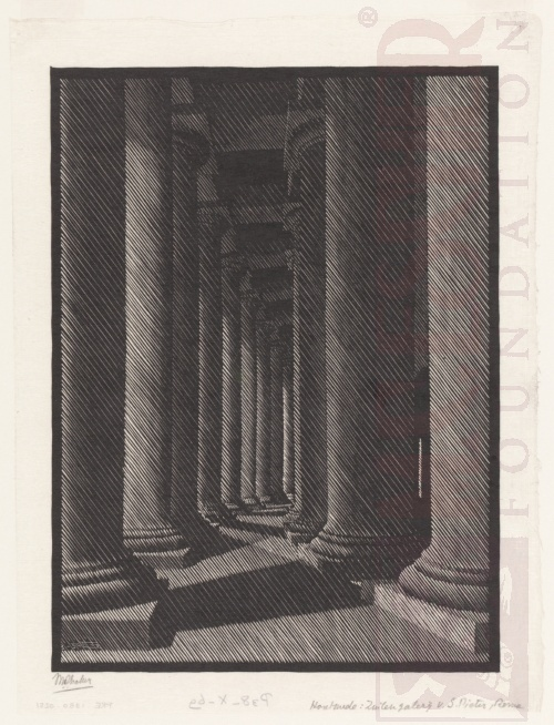 Nocturnal Rome: Colonnade of St Peter's. March 1934, Woodcut.
