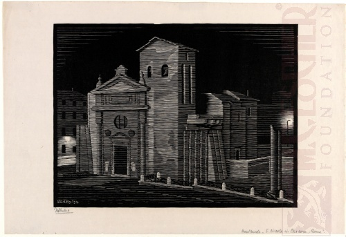 Nocturnal Rome: San Nicola in Carcere. March 1934, Woodcut.