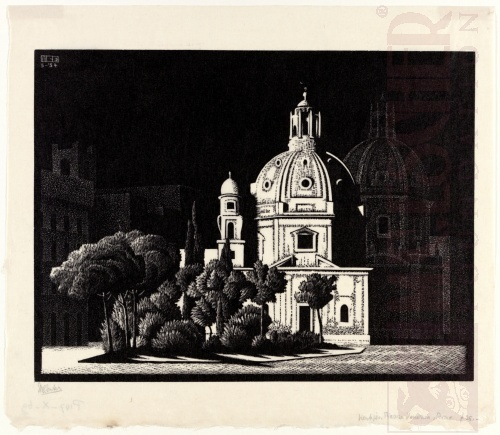 Nocturnal Rome: Small Churches, Piazza Venezia. March 1934, Wood Engraving.