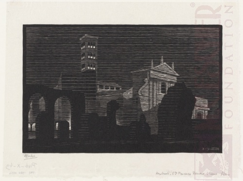 Nocturnal Rome: Santa Francesca Romana. March 1934, Woodcut.