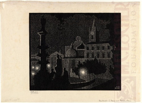 Nocturnal Rome: Santa Maria del Popolo. April 1934, Woodcut.