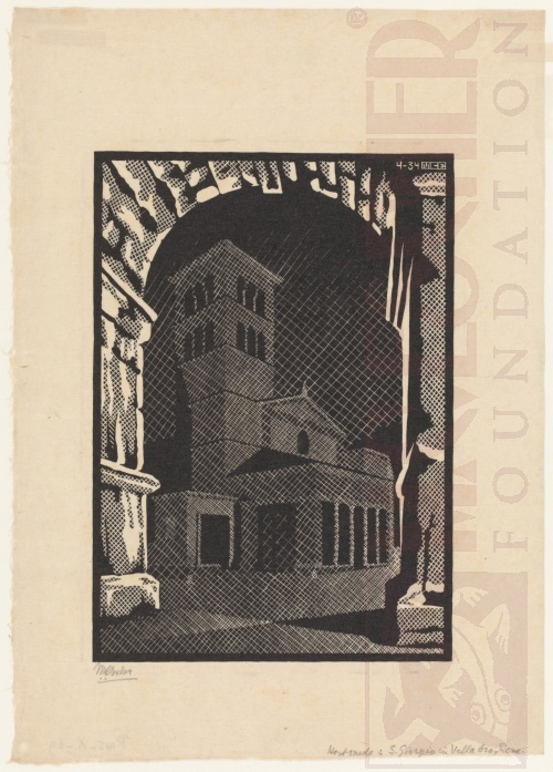 Nocturnal Rome: San Giorgio in Vellabro. April 1934, Woodcut.