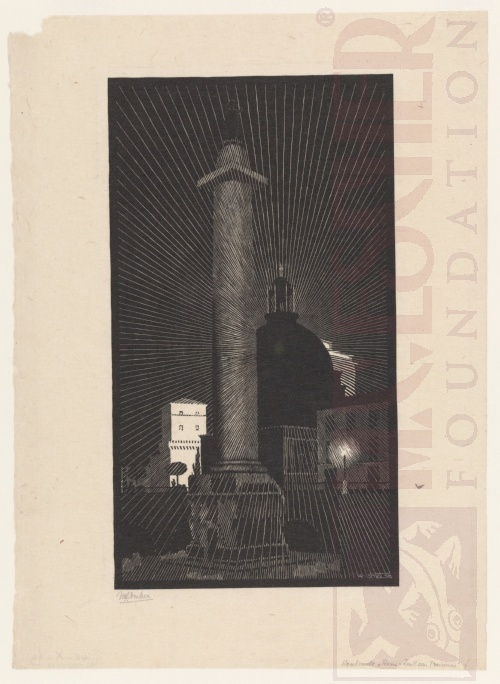 Nocturnal Rome: Trajan's Column. May 1934, Woodcut.
