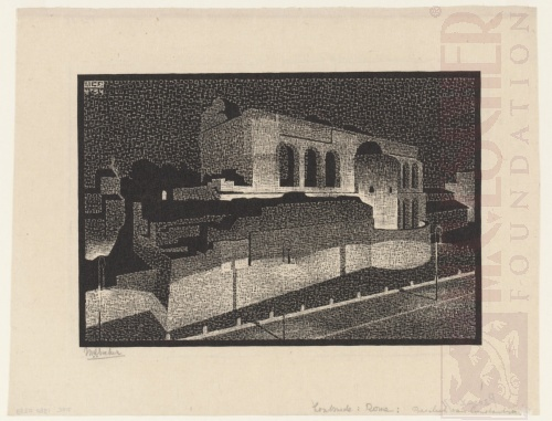 Nocturnal Rome: Basilica of Constantine. April 1934, Woodcut.